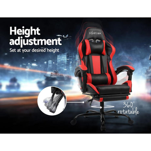 Gaming 'Racer' Office Chair Computer Seating - Black and Red height adjustment