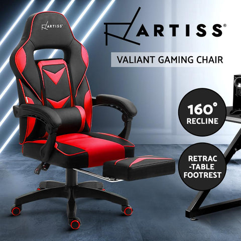 Red Gaming Chair Study Home Work Recliner Black Red