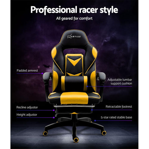 Artiss Office Chair best gamers chair Yellow