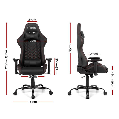 Artiss 'Magnum' Gaming Office Chairs Computer Desk Racing Recliner Executive Seat - Black dimensions