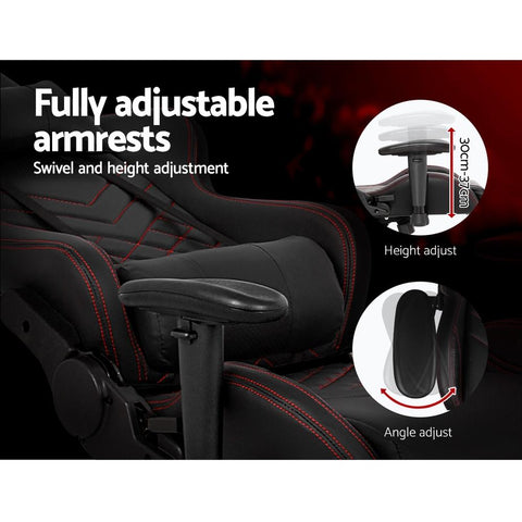 Artiss 'Magnum' Gaming Office Chairs Computer Desk Racing Recliner Executive Seat - Black fully adjustable armrests