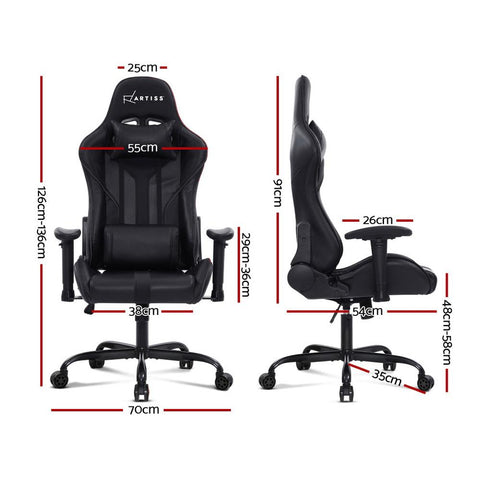 Artiss 'Musket' Gaming Office Chair Computer Chairs Leather Seat Racer Racing Meeting Chair - Black dimensions