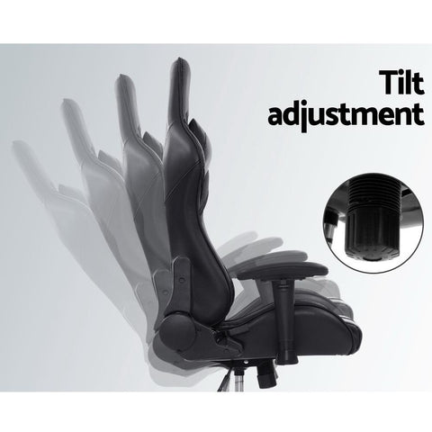Artiss 'Musket' Gaming Office Chair Computer Chairs Leather Seat Racer Racing Meeting Chair - Black tilt adjustment