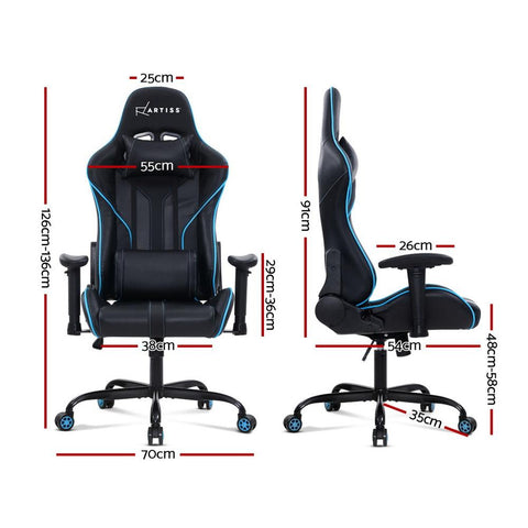 Artiss 'Musket' Gaming Office Chair Computer Chairs Leather Seat Racing Racer Recliner Meeting Chair - Black/Blue dimensions