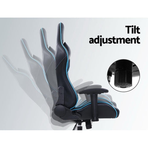 Artiss 'Musket' Gaming Office Chair Computer Chairs Leather Seat Racing Racer Recliner Meeting Chair - Black/Blue tilt adjustment