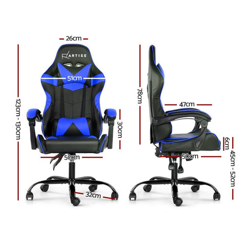 Artiss 'Mecka' Gaming Office Chairs Computer Seating Racing Recliner Racer - Black/Blue dimensions