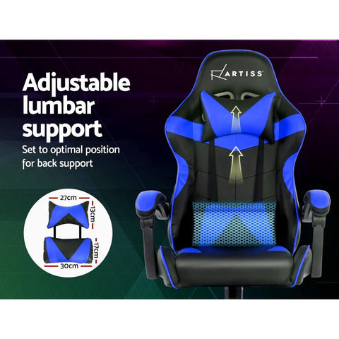 Artiss 'Mecka' Gaming Office Chairs Computer Seating Racing Recliner Racer - Black/Blue adjustable lumbar support
