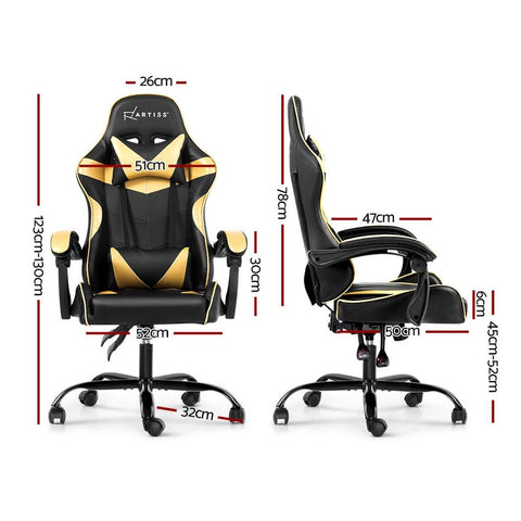 Artiss 'Mecka' Gaming Chair Recliner PU Leather Seat Armrest - Black/Golden dimensions