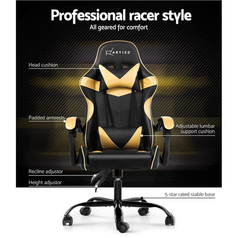 Artiss 'Mecka' Gaming Chair Recliner PU Leather Seat Armrest - Black/Golden best gaming chair Australia