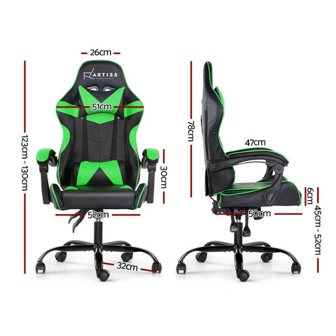 Artiss 'Mecka' Gaming Chair Recliner PU Leather Seat Armrest - Black/Green dimensions