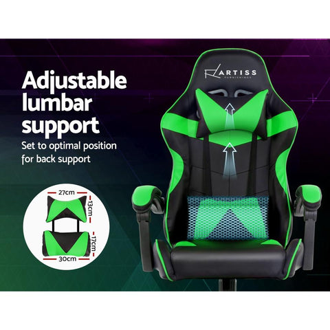 Artiss 'Mecka' Gaming Chair Recliner PU Leather Seat Armrest - Black/Green adjustable lumbar support