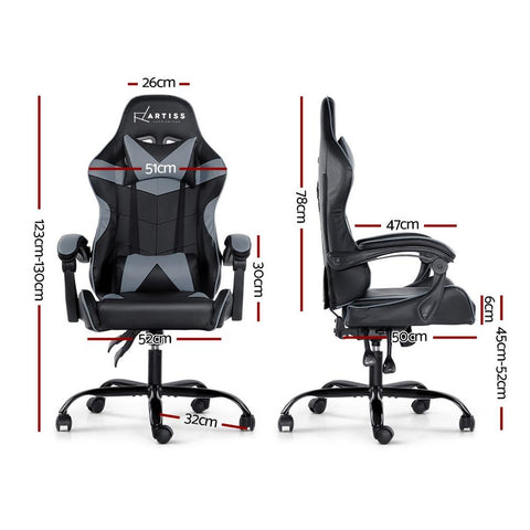 Artiss 'Mecka' Gaming Chair Recliner PU Leather Seat Armrest - Black/Grey dimensions