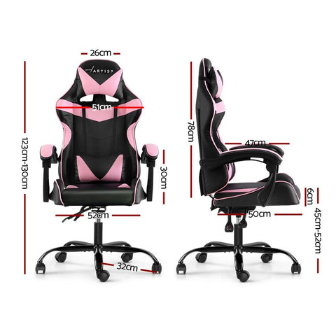 Artiss 'Mecka' Gaming Chair Recliner PU Leather Seat Armrest - Black/Pink dimensions