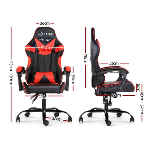 Artiss 'Mecka' Gaming Office Chairs Computer Seating Racing Recliner Racer - Black/Red dimensions