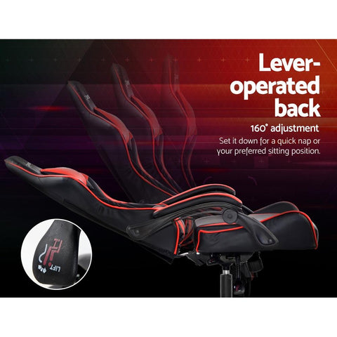Artiss 'Mecka' Gaming Office Chairs Computer Seating Racing Recliner Racer - Black/Red lever operated back rest