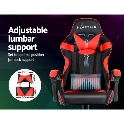 Artiss 'Mecka' Gaming Office Chairs Computer Seating Racing Recliner Racer - Black/Red adjustable lumbar support