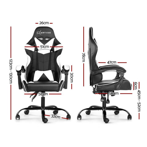 Artiss 'Mecka' Gaming Office Chairs Computer Seating Racing Recliner Racer - Black/White dimensions