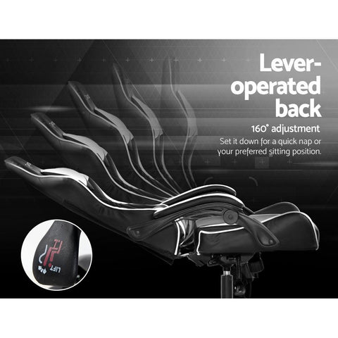 Artiss 'Mecka' Gaming Office Chairs Computer Seating Racing Recliner Racer - Black/White lever operated back rest