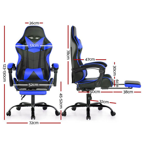 Artiss 'Marvel' Gaming Office Chairs Computer Seating Racing Recliner Footrest - Black/Blue dimensions