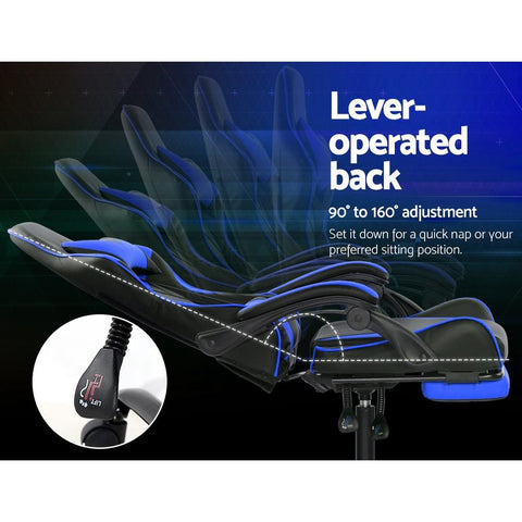 Artiss 'Marvel' Gaming Office Chairs Computer Seating Racing Recliner Footrest - Black/Blue lever operated back support