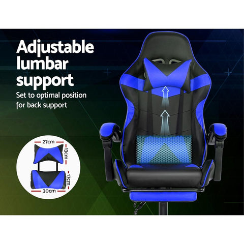 Artiss 'Marvel' Gaming Office Chairs Computer Seating Racing Recliner Footrest - Black/Blue adjustable lumbars support
