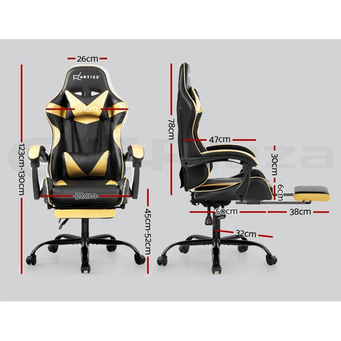 Artiss 'Marvel' Gaming Chair Recliner PU Leather Seat Armrest Footrest - Black/Golden dimensions