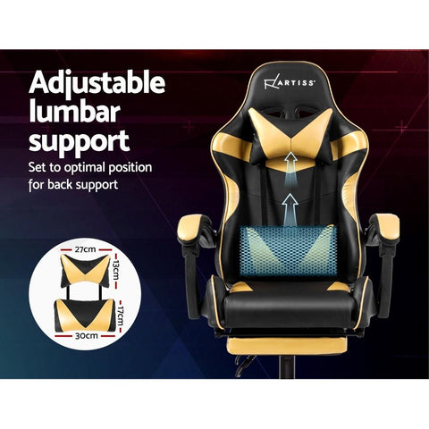 Artiss 'Marvel' Gaming Chair Recliner PU Leather Seat Armrest Footrest - Black/Golden adjustable lumbar support