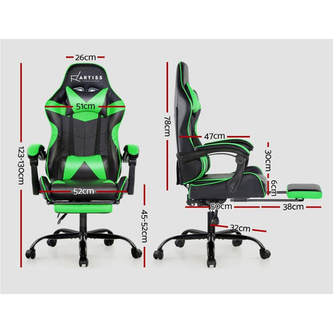 Artiss 'Marvel' Gaming Chair Recliner PU Leather Seat Armrest Footrest - Black/Green dimensions