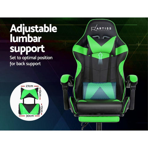 Artiss 'Marvel' Gaming Chair Recliner PU Leather Seat Armrest Footrest - Black/Green adjustable lumbar support