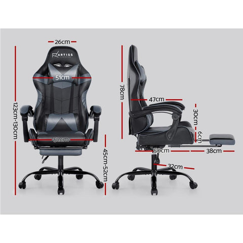 Artiss 'Marvel' Gaming Chair Recliner PU Leather Seat Armrest Footrest - Black/Grey dimensions