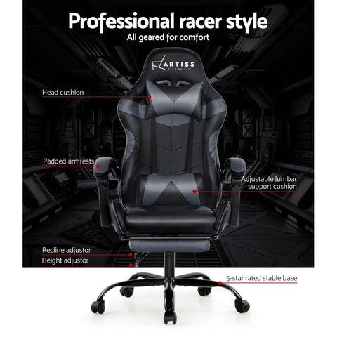 Artiss 'Marvel' Gaming Chair Recliner PU Leather Seat Armrest Footrest - Black/Grey professional racer style