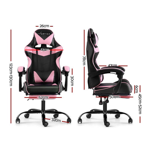 Artiss 'Marvel' Gaming Chair Recliner PU Leather Seat Armrest Footrest - Black/Pink dimensions