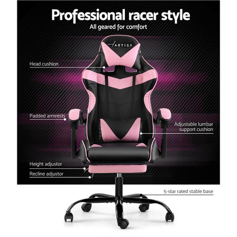Artiss 'Marvel' Gaming Chair Recliner PU Leather Seat Armrest Footrest - Black/Pink features