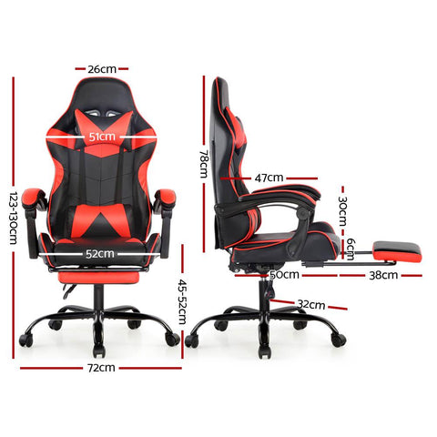 Artiss 'Marvel' Gaming Office Chairs Computer Seating Racing Recliner Footrest - Black/Red dimensions