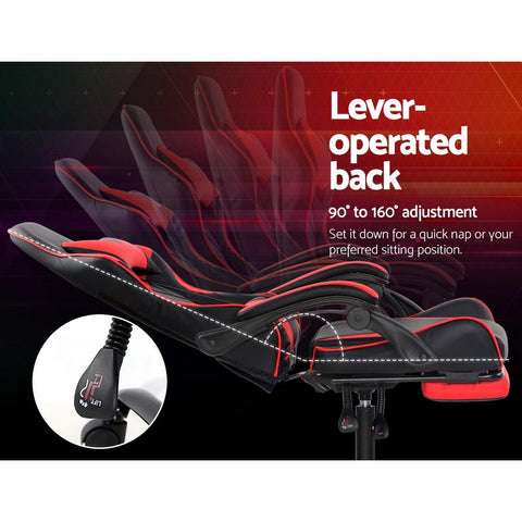 Artiss 'Marvel' Gaming Office Chairs Computer Seating Racing Recliner Footrest - Black/Red lever operated back support