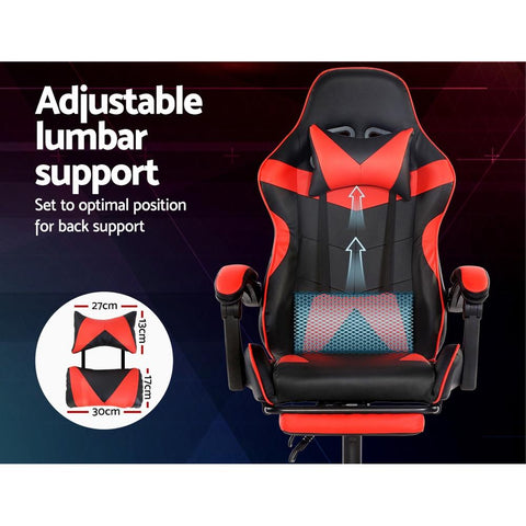 Artiss 'Marvel' Gaming Office Chairs Computer Seating Racing Recliner Footrest - Black/Red adjustable lumbar support