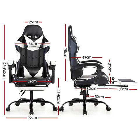 Artiss 'Marvel' Gaming Office Chairs Computer Seating Racing Recliner Footrest - Black/White dimensions