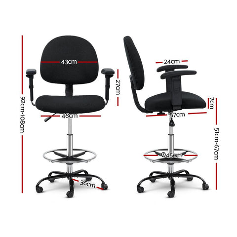Artiss 'Veer' Office Chair Drafting Stool Fabric Chairs Adjustable Armrest - Black dimensions