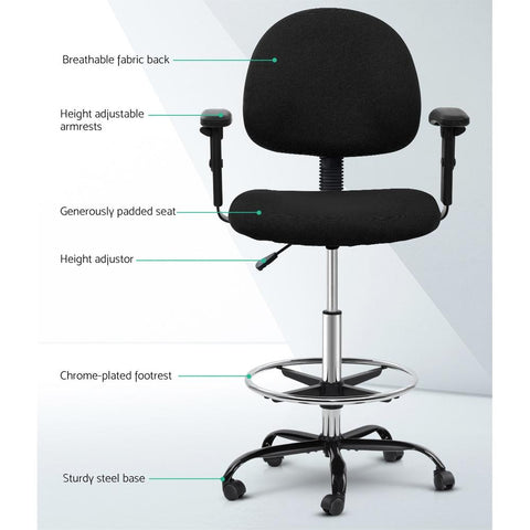 Artiss 'Veer' Office Chair Drafting Stool Fabric Chairs Adjustable Armrest - Black breathable fabric