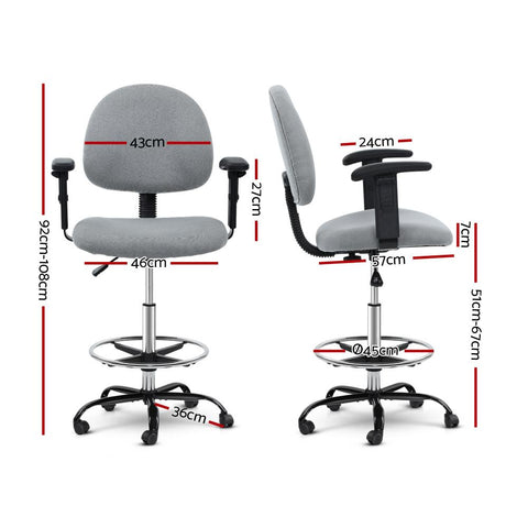 Veer Office Chair Drafting Stool Fabric Chairs Adjustable Armrest - Grey dimensions