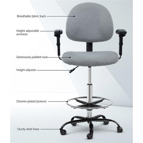 Veer Office Chair Drafting Stool Fabric Chairs Adjustable Armrest - Grey features