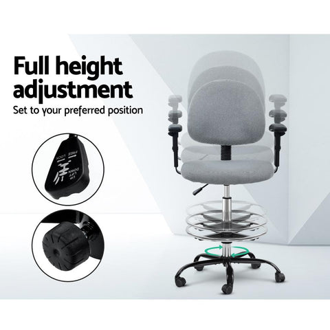 Veer Office Chair Drafting Stool Fabric Chairs Adjustable Armrest - Grey full height adjustment