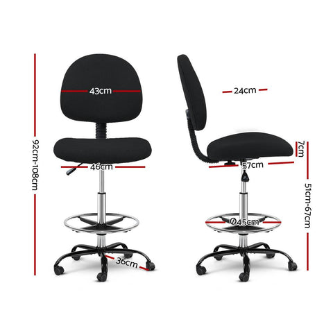 Artiss 'Veer' Office Chair Drafting Stool Fabric Chairs - Black dimensions