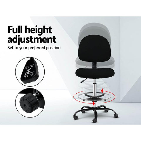 Artiss 'Veer' Office Chair Drafting Stool Fabric Chairs - Black full height adjustment