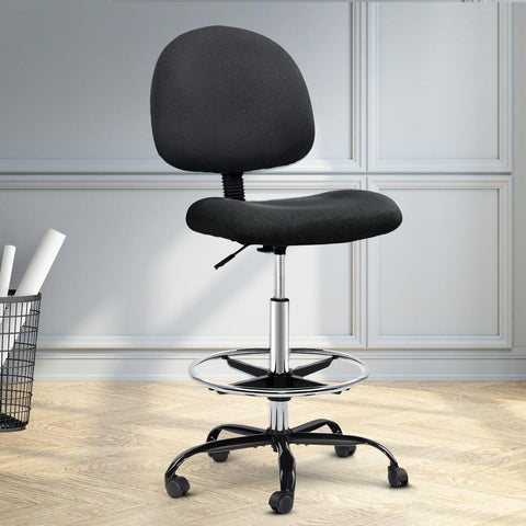 Artiss 'Veer' Office Chair Drafting Stool Fabric Chairs - Black cheap drafting chair Melbourne