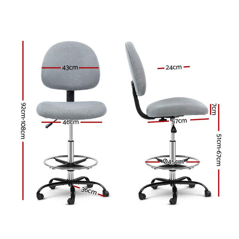 Artiss 'Veer' Office Chair Drafting Stool Fabric Chairs - Grey dimensions