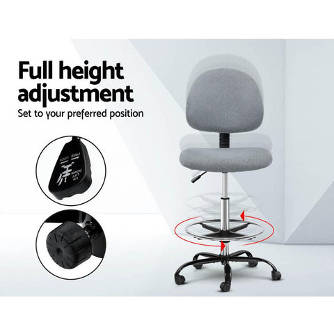 Artiss 'Veer' Office Chair Drafting Stool Fabric Chairs - Grey full height adjustment