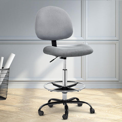 Artiss 'Veer' Office Chair Drafting Stool Fabric Chairs - Grey cheap drafting office chair