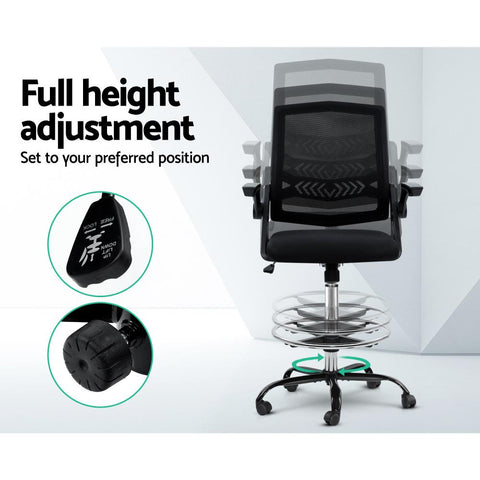 Artiss 'Veer' Office Chair Drafting Stool Mesh Chairs Flip Up Armrest - Black padded seat support
