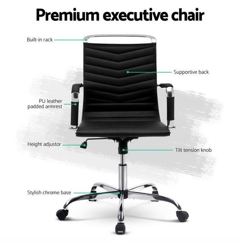 Eames Replica Office Chair Executive Mid Back Seating PU Leather - Black premium executive chair